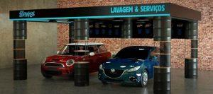 Animação digital com dois carros em uma unidade da Flipwash