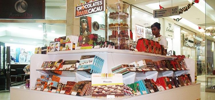 Quiosque da franquia Chocolates Brasil Cacau