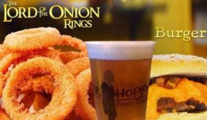 Produtos do Mr Hoppy Beer e Burguer. Texto na imagem: The Lord of the Onion Rings, burger